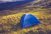 Wild Camping With Tent On Mountain