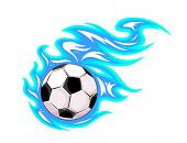 picture of leaving  - Championship soccer ball or football leaving a blue trail as it speeds through the air - JPG