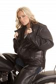 Woman Hold Leather Jacket Open Sit Motorcycle
