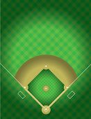 stock photo of infield  - A vector illustration of the arial view of a baseball field - JPG