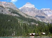 Wooden Cabins At Lake O'hara, Yoho National Park, Canada