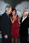 Clint Eastwood with Dina Eastwood and Giorgio Armani at the Giorgio Armani Prive Show to celebrate the Oscars. Green Acres, Los Angeles, CA. 02-24-07