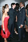 Elsa Pataky with Adrien Brody and Sidney Poitier at the Giorgio Armani Prive Show to celebrate the Oscars. Green Acres, Los Angeles, CA. 02-24-07