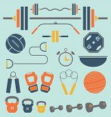 Vector Set: Retro Color Flat Gym and Workout Equipment