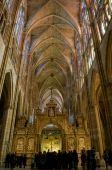 Central Nave In Santa Maria De Leon Cathedral. Leon, Spain