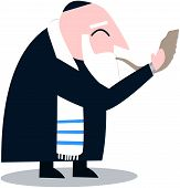 Rabbi With Talit Blows The Shofar