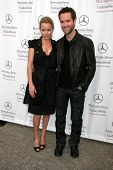 Becki Newton and Chris Diamantopoulos at day one of the 2007 Mercedes-Benz Fashion Week Fall Collection. Smashbox Studios, Culver City, CA. 03-18-07