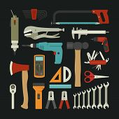 image of hammer drill  - Hand tools icon set flat design eps10 vector format - JPG