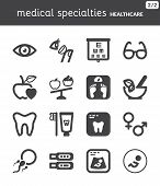 Nutrition. Dental. Ophthalmology. Pregnancy. Healthcare Flat Icons. Black