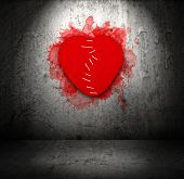 image of breakup  - Stitched felt broken heart on old grunge obsolete wall with spotlight - JPG
