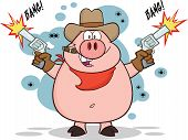 Cowboy Pig Character Shooting With Two Guns