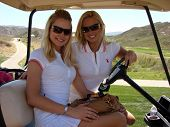 Stacy Fuson and Lauren Anderson at the 7th Annual Playboy Golf Scramble Championship Finals. Lost Canyons Golf Club, Simi Valley, CA. 03-30-07