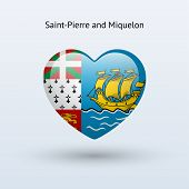 Love Saint-Pierre and Miquelon symbol. Heart flag icon.