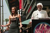 Halle Berry and Samuel Jackson at the ceremony honoring Halle Berry with the 2,333rd star on the Hol