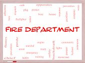Fire Department Word Cloud Concept On A Whiteboard