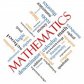 stock photo of fraction  - Mathematics Word Cloud Concept angled with great terms such as fractions algebra calculus and more - JPG