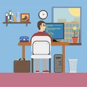 Workplace Room with Programmer and Website Code in Flat Design Style vector