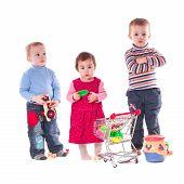 Three children play