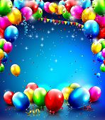 stock photo of  realistic  - Birthday template with balloons and confetti on blue background - JPG