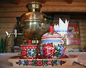 Russian tea drinking with samovar