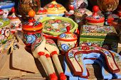 Traditional Russian wooden souvenirs