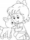 picture of caress  - Little girl caresses a small white kid - JPG