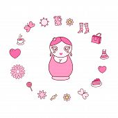 illustration with doll matrioshka