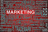 Marketing Terms Scheme In Red Colors To Be Used As Background