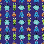Vector Cute Retro Hipster Monsters Seamless Pattern Background