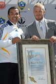 LA Mayor Antonio Villaraigosa and David Beckham at the press conference to introduce David Beckham a