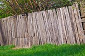 Old Rural Wooden Fence Of Trees Garden