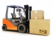 Forklift caring shipping packages