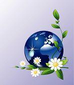 Gotas de agua y globo de tierra