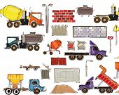 Cars and working units industrial set