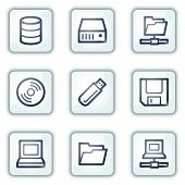 Drives and storage web icons, white square buttons series
