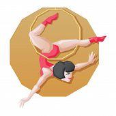 Circus perfotmer make aerial ring fly trick