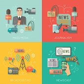 stock photo of mass media  - Mass media journalism broadcasting news cast concept flat business icons set of paparazzi profession live radio for infographics design web elements vector illustration - JPG