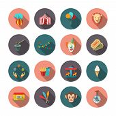 pic of circus clown  - Set of circus monkey lion clown flat isolated icons with long shadows on circles vector illustration - JPG