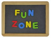 Fun Zone written on traditional school slate