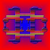 Graphic Composition With  Violet Illumination On Red Background.