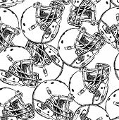Sketch Football Helmet, Vector  Seamless Pattern