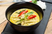 stock photo of rice noodles  - rice noodles served with Chicken Green Curry - JPG