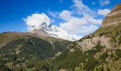 Famous swiss city Zermatt in the valley near the swiss-italian border center of alpine sports