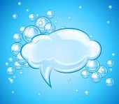 bubbles cloud in water for message. Rasterized illustration.