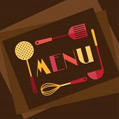 Restaurant menu background in flat design style.