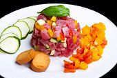 Tuna Tartar With Fresh Zucchini And Pepper