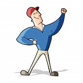 cartoon man striking heroic pose