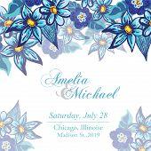 Wedding invitation card with blue flowers