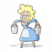 foto of milkmaid  - cartoon milkmaid carrying buckets - JPG