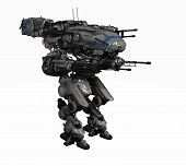 picture of robotics  - 3d render of a police robot mech - JPG